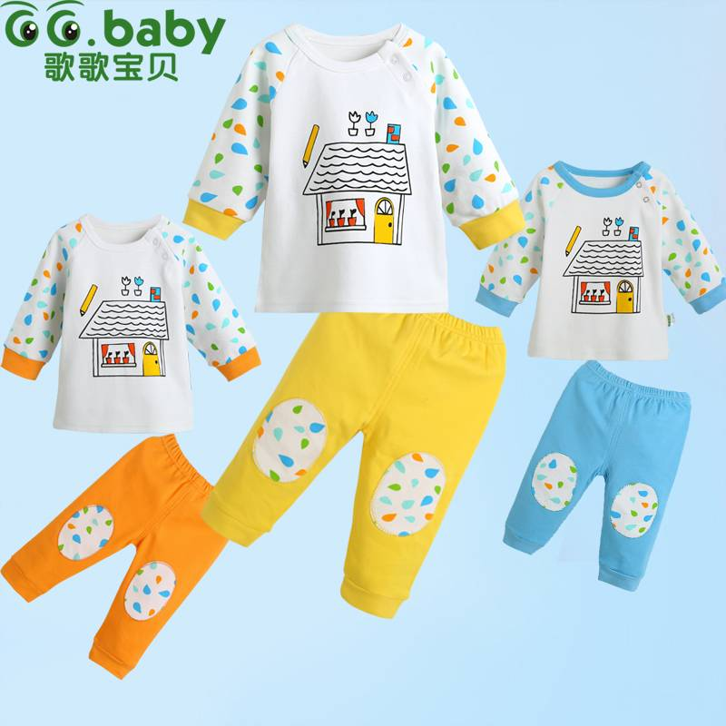2015New Cartoon Baby Sets Boy Girl Spring Autumn Newborn Clothing Sets Baby T-shirt Pants Suit For I