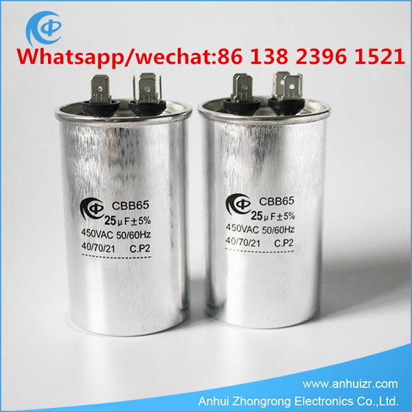 Air Conditioner Capacitor 25uF 450VAC Round