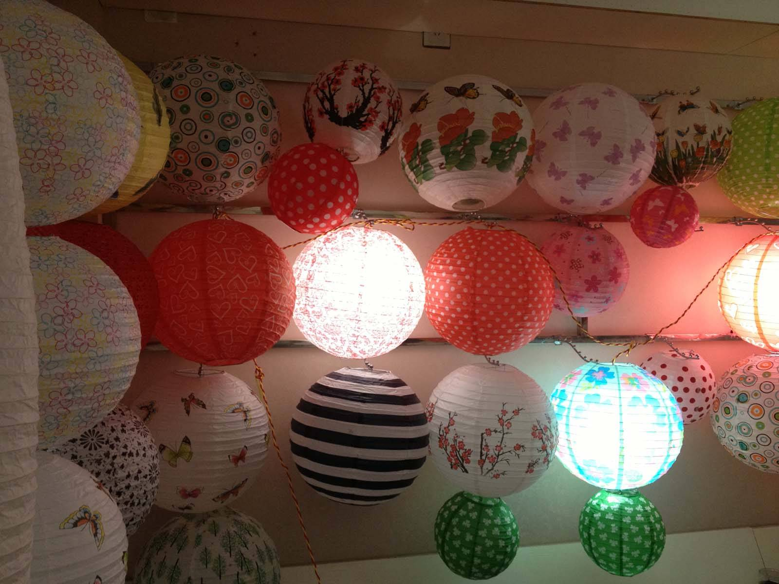 supply chinese tranditional round shaped paper lanterns for decoration