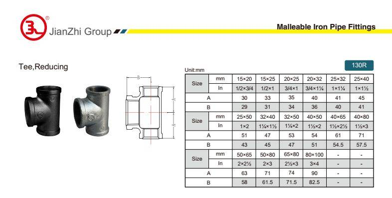 China Malleable iron pipe fitting Reducing Tee-130R with high quality and proper price