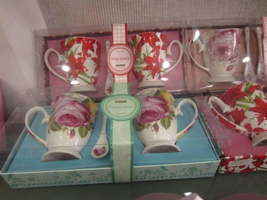 Decal printing porcelain coffee mug with spoon set,Meet FDA,LFGB,CA65,84/500/EEC Standard