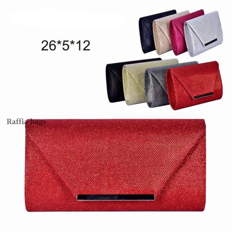 Glitter Handbag Party Evening Clutch Bag With Metal Bar Flap