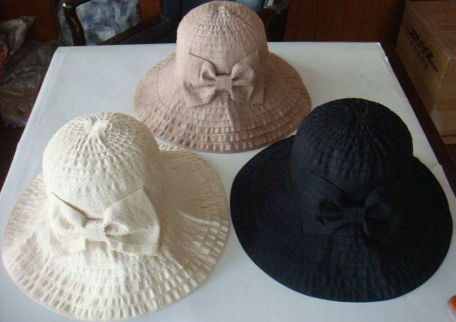 Ribbon hats with bow, ladies fashion hats