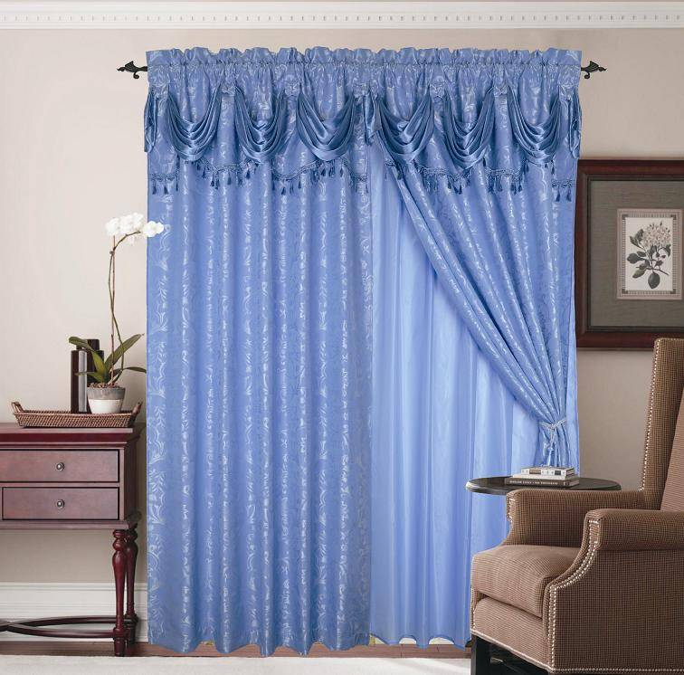 100% polyester yard dyed jacquard window curtain with valance +tassels