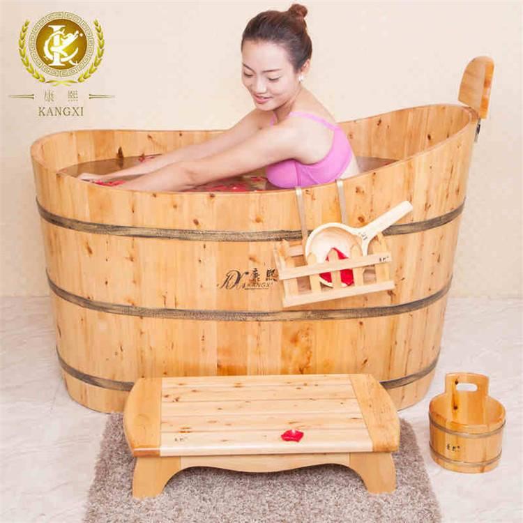 Oval wooden shower tub massage tub solid wood tub