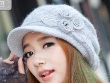 2014 Korean version cap new small flowers along lovely ladies who warm winter rabbit fur knitted woo
