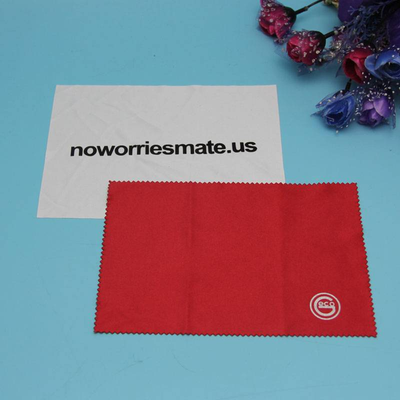 well cutted microfiber cloth fabric with customized logo printed