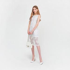 lurex big flower lace midi dress ( EM-020 )