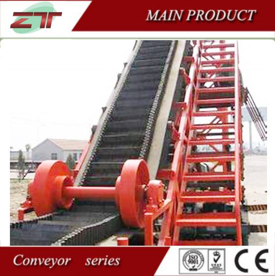 Smooth operation rubber belt bucket conveyor for lime stone