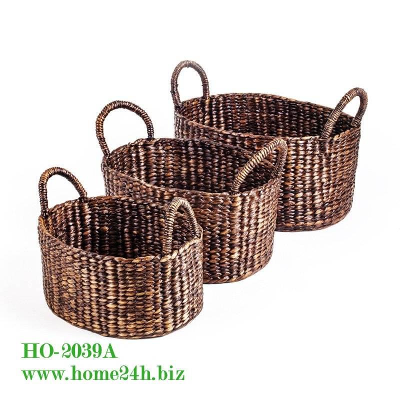 Water Hyacinth Basket Storage S/3, High quality & Black washed