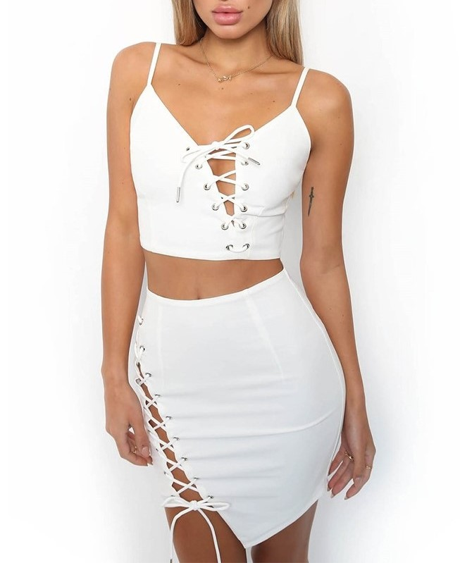 Sexy Lace Up Top with Mini Skirt 2 Pcs Women Bodycon Dress Clubwear