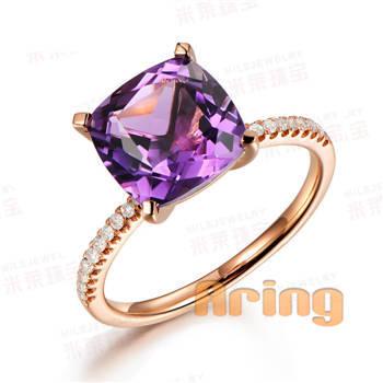 Jewellery Manufacturers Solid 18k 9k 14k Gold Amethyst Diamonds Rings