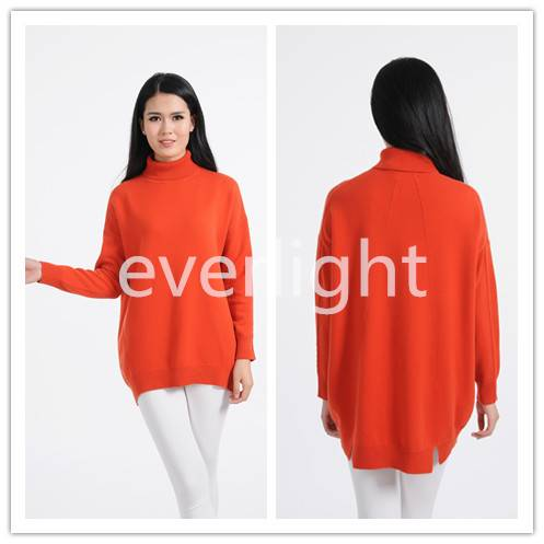 women 100% cashmere turtle neck pullover long sweater