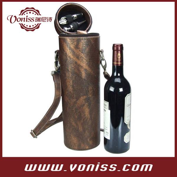 Mediaeval Leather Tube Style Wine Bottle Carrier Holder for Gift Giving Storage Holds One Bottle