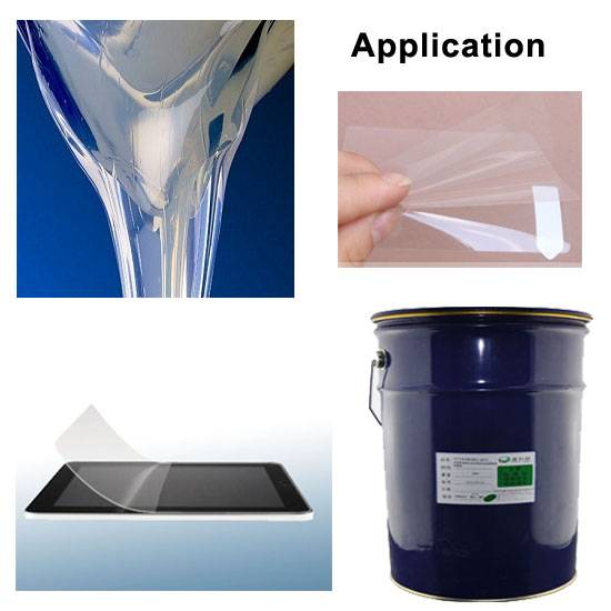 Clear silicone adhesive for PET film