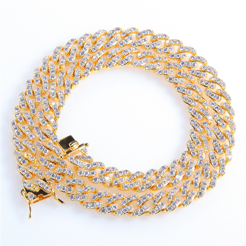 Men Hip hop Iced Out Bling Full Pave Rhinstones chain Necklace fashion CZ Miami Cuban chains necklac