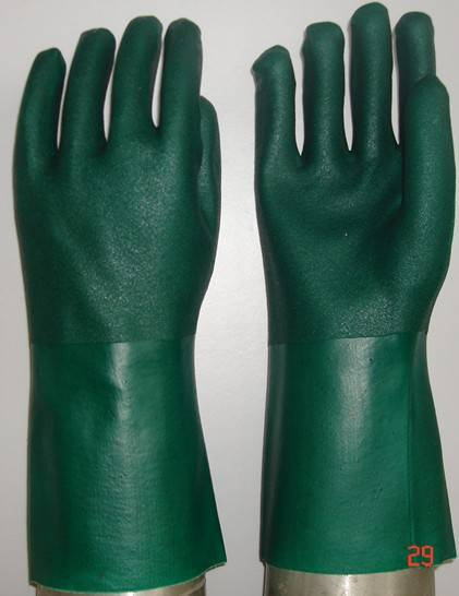 Green PVC fully coated/dipped glove sandy finish,jersey liner