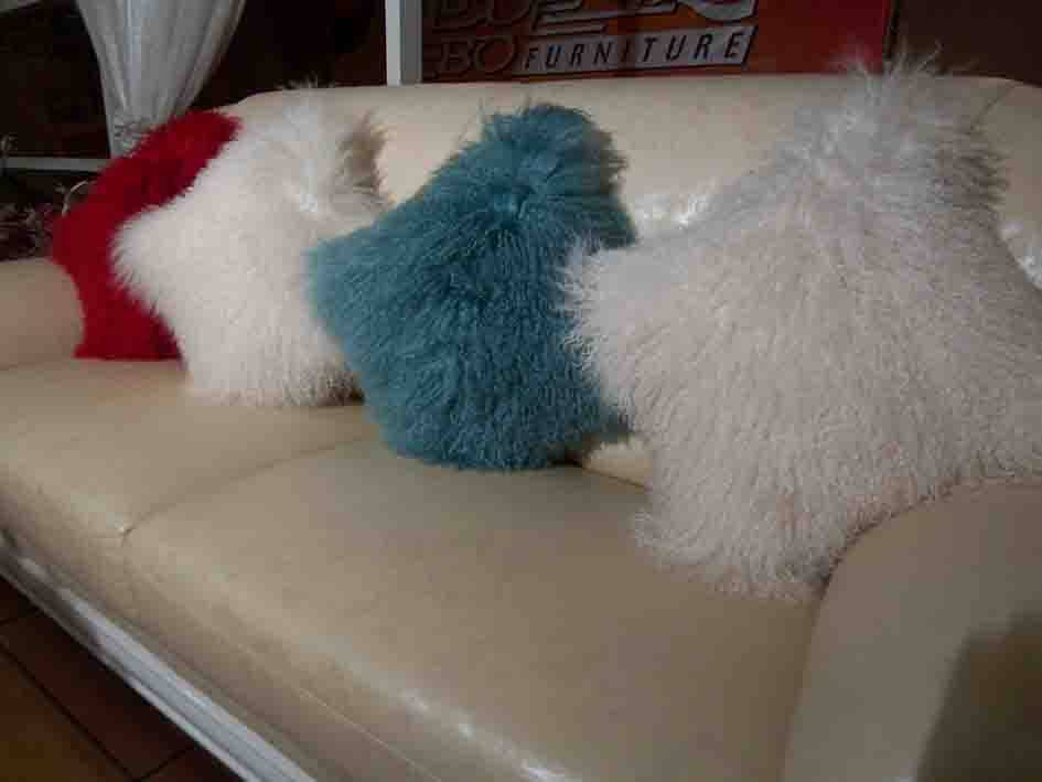mongolian lamb fur cushion, fur cushion