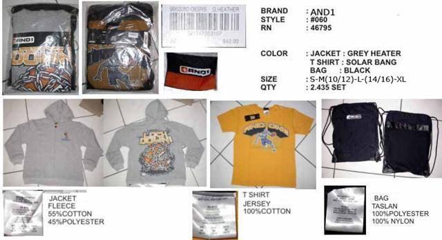 AND 1 JACKET+T SHIRT+BAG (original)