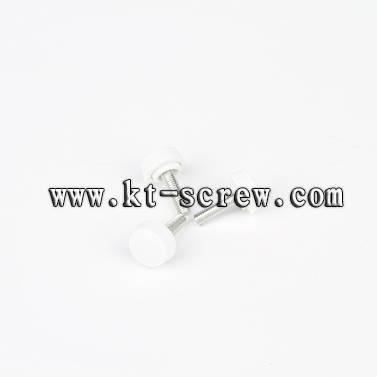 Thumb screw of white plastic head screw