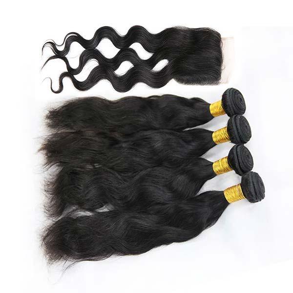9A Brazilian Natural Wave Human Virgin Hair Weave 4 Bundles With Lace Closure