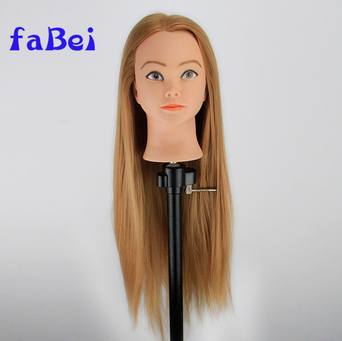 Real Human Hair Mannequin Training Head 22inch Brown Color Hair