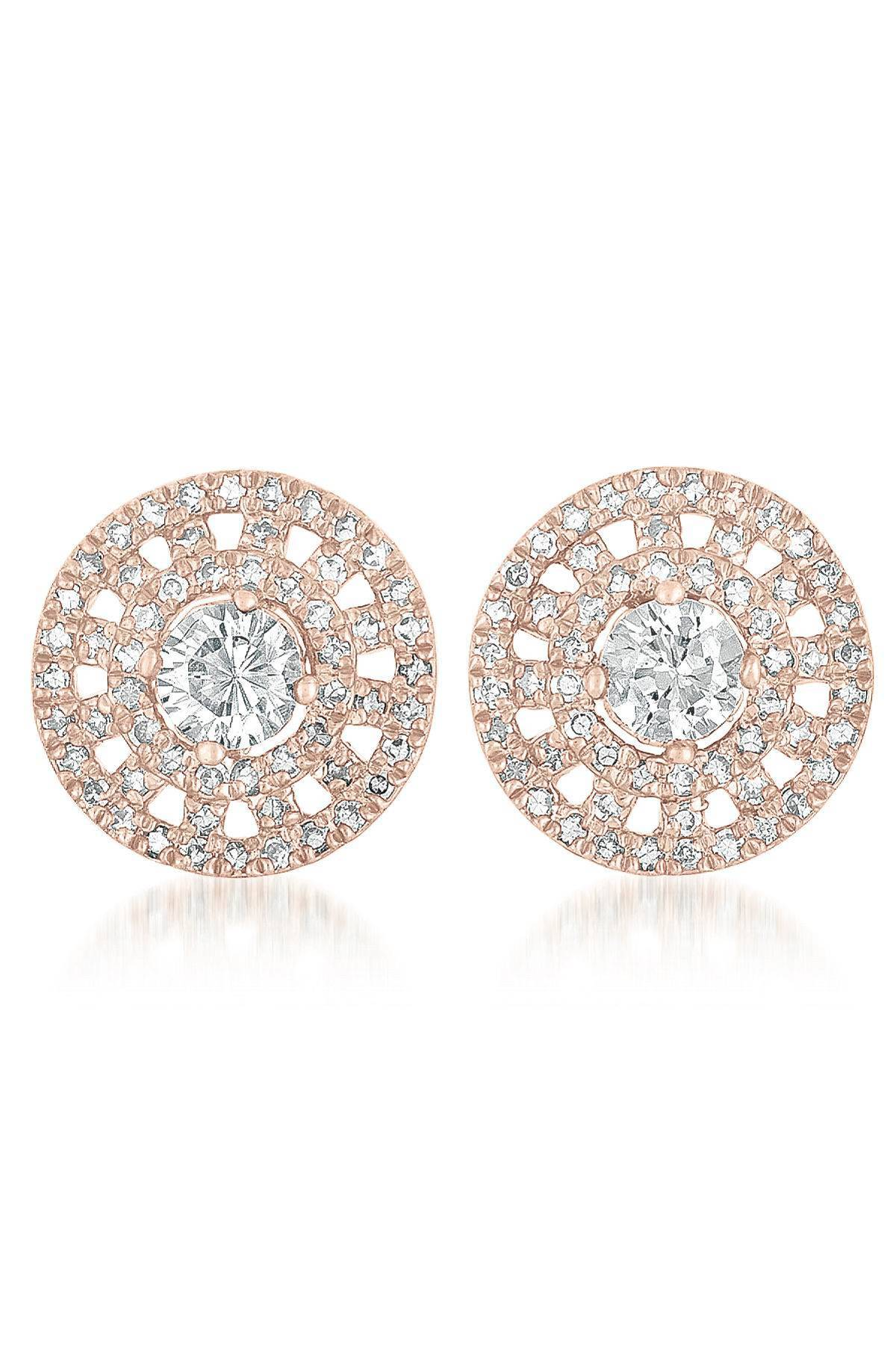 Classic roman style earrings with cz gems 8053