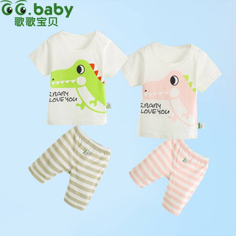 2015 Cotton Character Summer Baby Sets Baby Boy Girl Clothing Suits