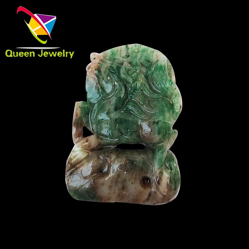 natural high-grade three-color jade carved ' wish you success' gem pendant necklace for lady man