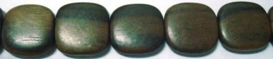Tiger Ebony Flat Square wood beads 16mm