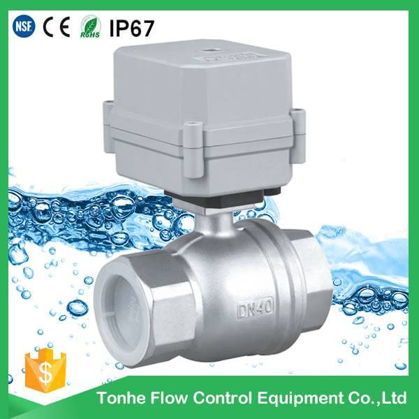 DN40 1 1/2 inch DC12V stainless steel BSP NPT thread NSF61 electric ball valve made in china
