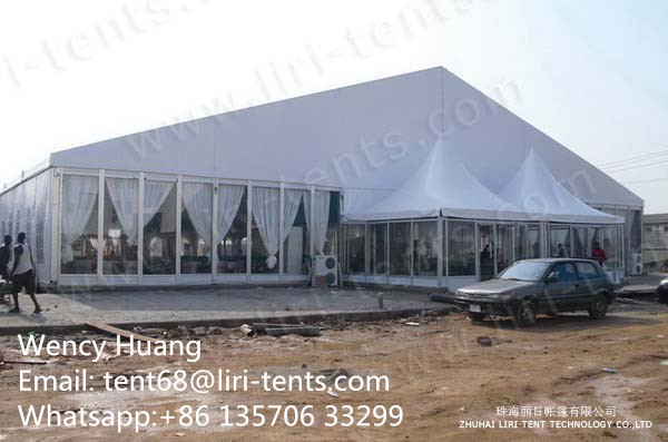 Glass Walls Marquee with Pagoda Tents