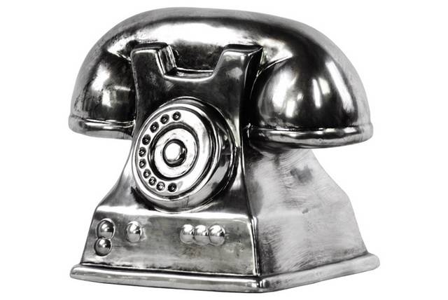 Ceramic Vintage Telephone Sculpture