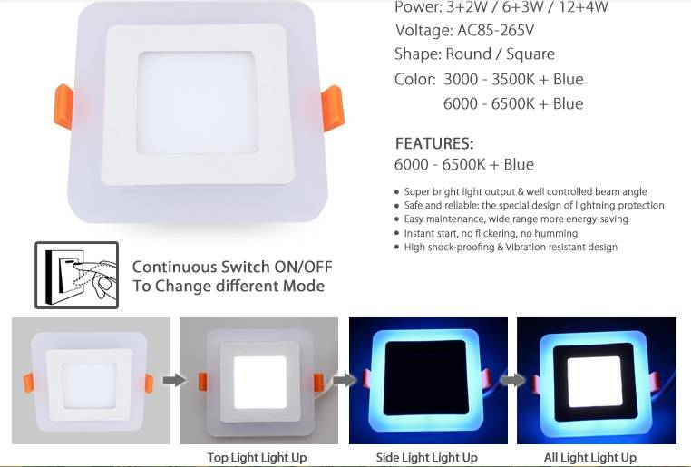 Changeable Color 16w Blue / white Double Color Led Recessed Panel Light