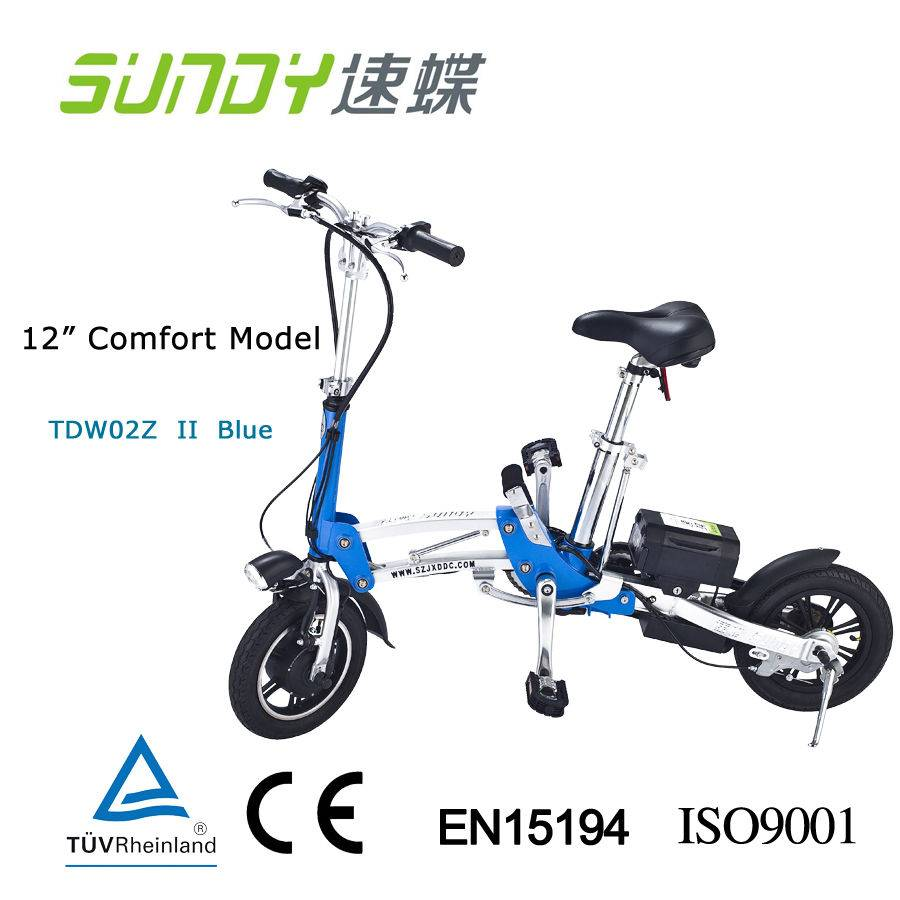 12-Inch Mini Folding Electric Bicycle-blue
