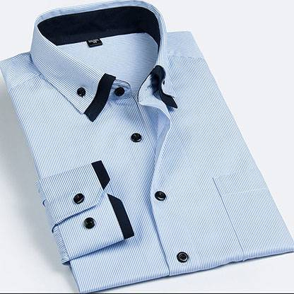 men's button-down stripe shirt / men's double collar stripe shirt