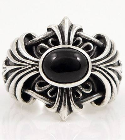 chrome hearts ring,black onyx cross sterling silver ring
