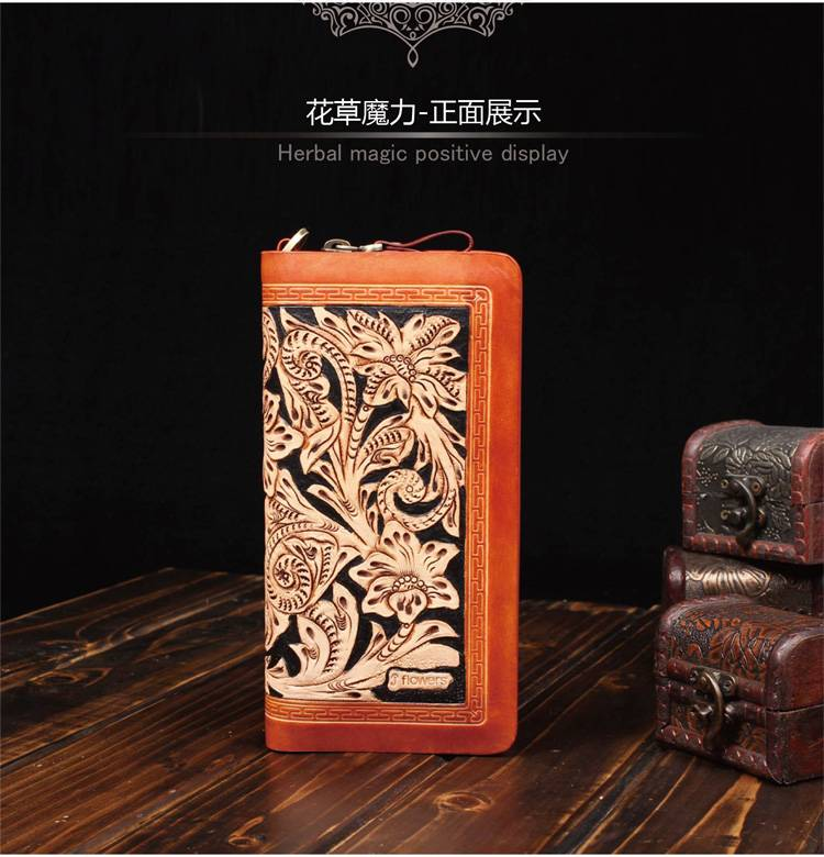 2015 100% genuine leather 100% handcarving fashion wallet