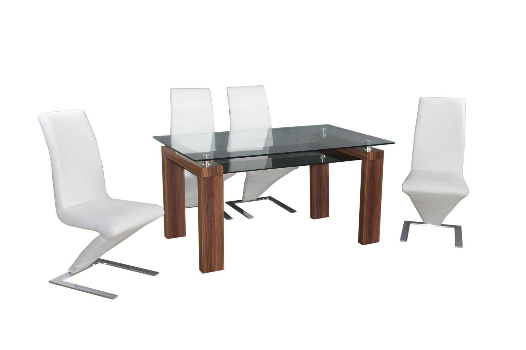 Modern 1+4 dining set, PU chair match wooden leg table