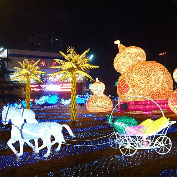 led 3d horse carriage for square decor led Christmas lights led carriage