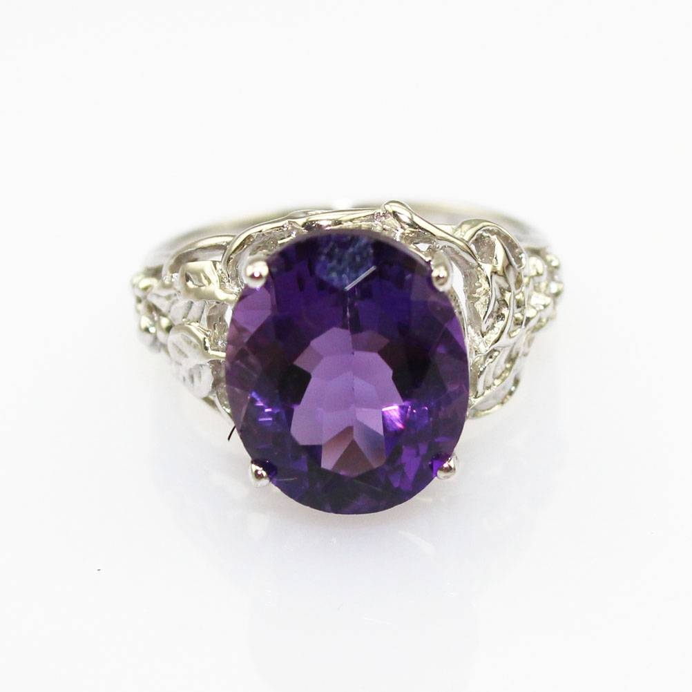 Sterling Silver Jewelry Oval Amethyst Ring (FR0180)