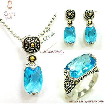 Vintage Jewelry Set Brass CZ Jewelry Set with Oval blue gemstones and Genuine rhodium plating