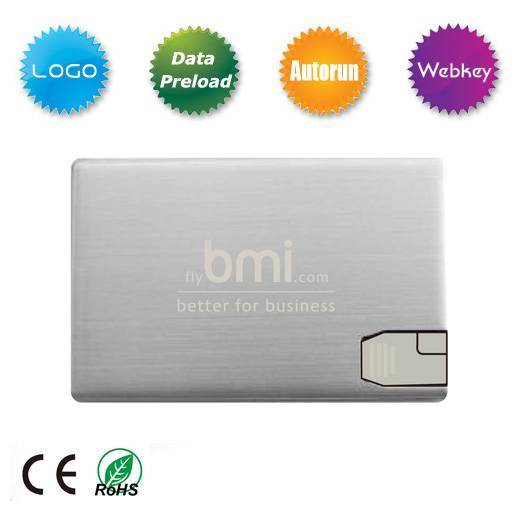 Promotional Gift Metal Card USB Flash Drive with logo Printing, China supplier for USB Flash Drive