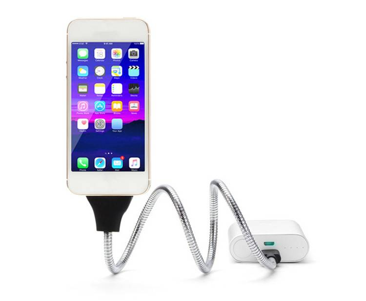 New style 2016 Flexible stand up metal USB data sync charge cable for Apple iphone Stand Holder