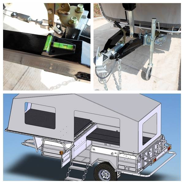 ADRs 62 Off road camp trailer with gradienter fitting and standard 10inch jockey wheel