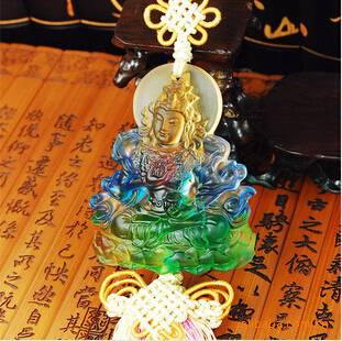 liu li car crystal ornaments------colered glaze green tara