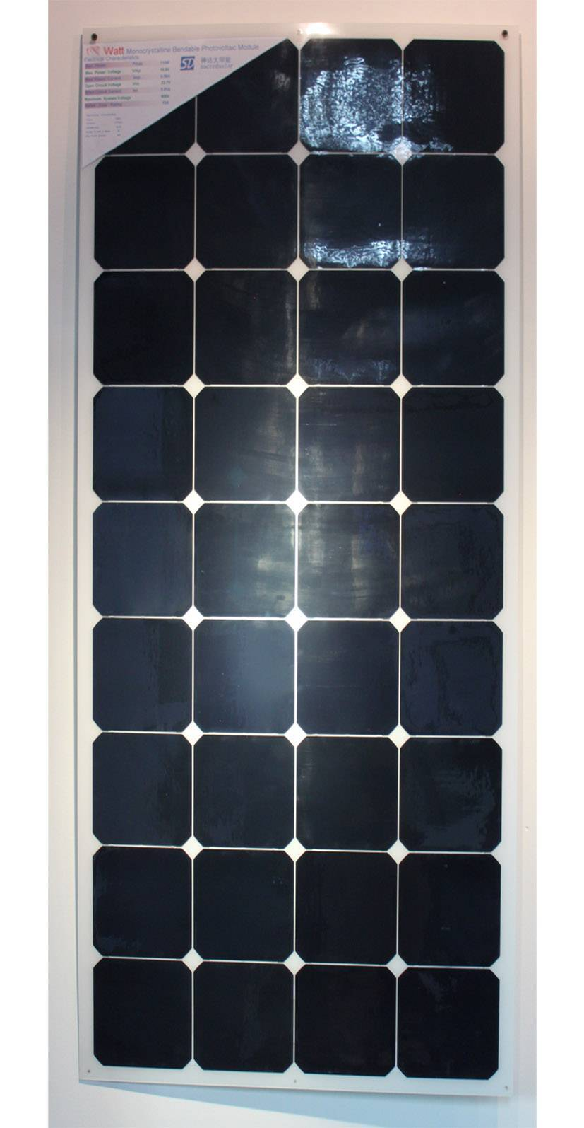 130 Watts high efficiency solar panel with back contact cells
