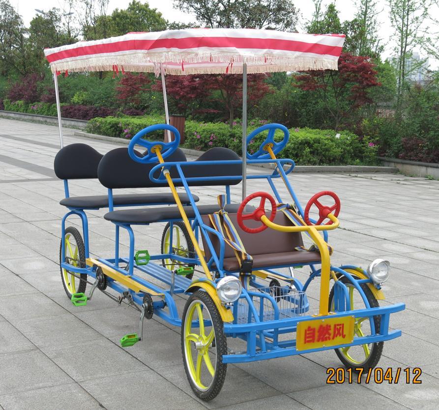 Two person Deluxe Surrey Quadricycle Bike with Canopy(TE-SA03)