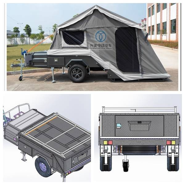 ADRs 62 Off road backward folding hard floor camping trailer with carry rack upon the trailer top li