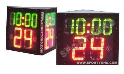 Three faces shot clock with time for basketball
